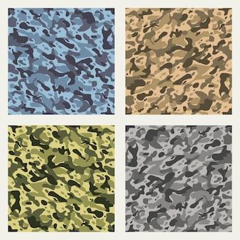 Conjunto de padrões sem emenda de camuflagem de tecido