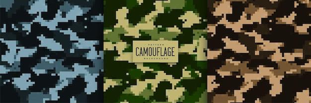 Conjunto de padrões sem emenda de camuflagem militar