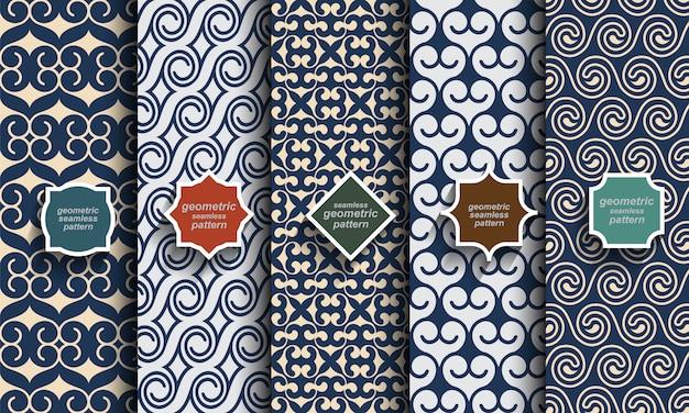 Conjunto de padrões sem emenda de cor azul retrô
