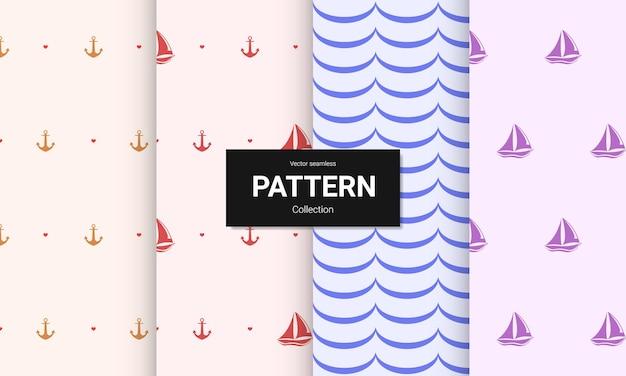Conjunto de padrões sem emenda de cor clara. texturas náuticas sem emenda do vetor.