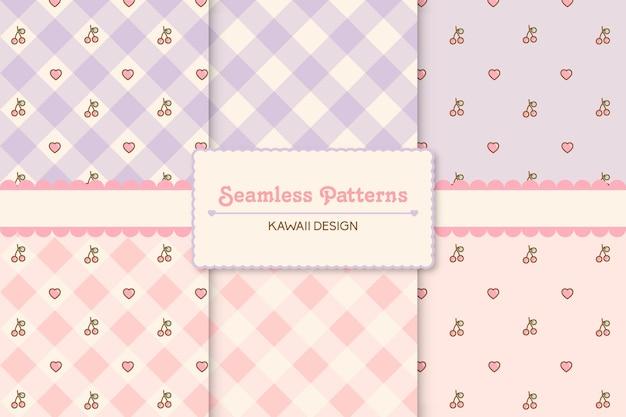 Conjunto de padrões sem emenda de corações e cerejas fofos