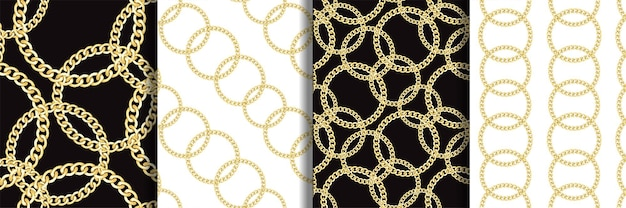 Conjunto de padrões sem emenda de correntes redondas douradas