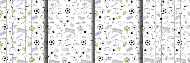 Conjunto de padrões sem emenda de doodle de futebol