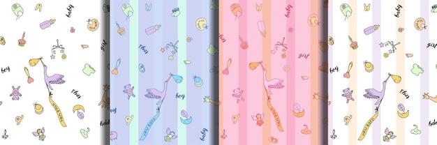 Conjunto de padrões sem emenda de doodle e letras de bebê