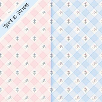 Conjunto de padrões sem emenda de duas borboletas quadriculadas e flores