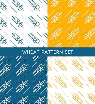 Conjunto de padrões sem emenda de espigas de trigo de cores diferentes no estilo desenhado à mão