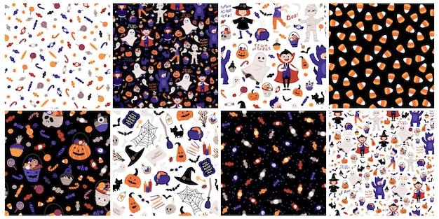 Conjunto de padrões sem emenda de festa de crianças de halloween. crianças fantasiadas. ilustração de personagens, letras, doces e elementos no estilo desenhado à mão dos desenhos animados. ideal para impressão de tecidos, embalagens.