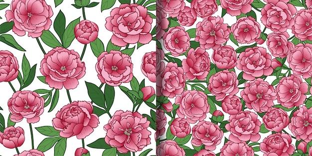 Conjunto de padrões sem emenda de flores e folhas de peônia papéis de parede de repetição romântica floral estampas têxteis