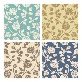 Conjunto de padrões sem emenda de flores rosas vintage