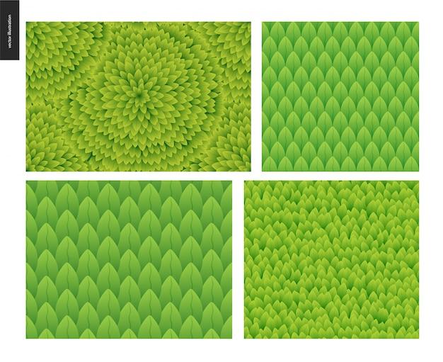 Conjunto de padrões sem emenda de folhagem