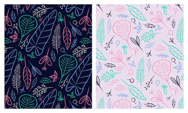 Conjunto de padrões sem emenda de folhas coloridas de contorno