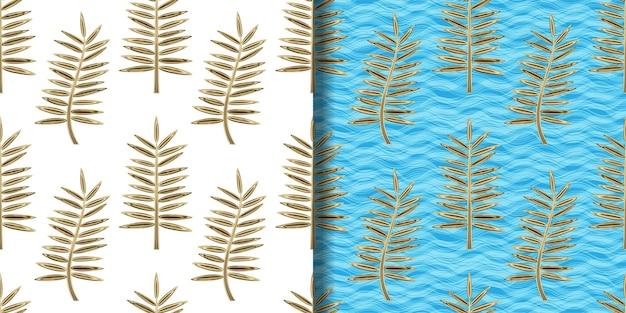 Conjunto de padrões sem emenda de folhas de palmeira dourada