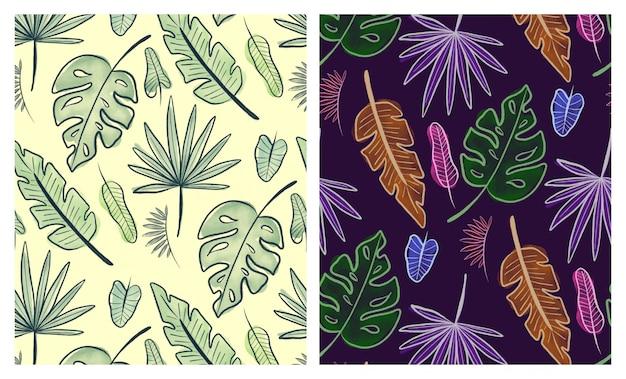 Conjunto de padrões sem emenda de folhas tropicais em aquarela