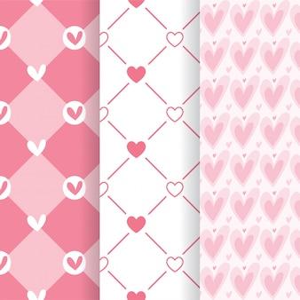 Conjunto de padrões sem emenda de forma adorável coração rosa