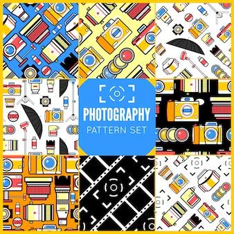 Conjunto de padrões sem emenda de fotografia