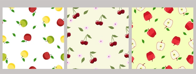Conjunto de padrões sem emenda de frutas.