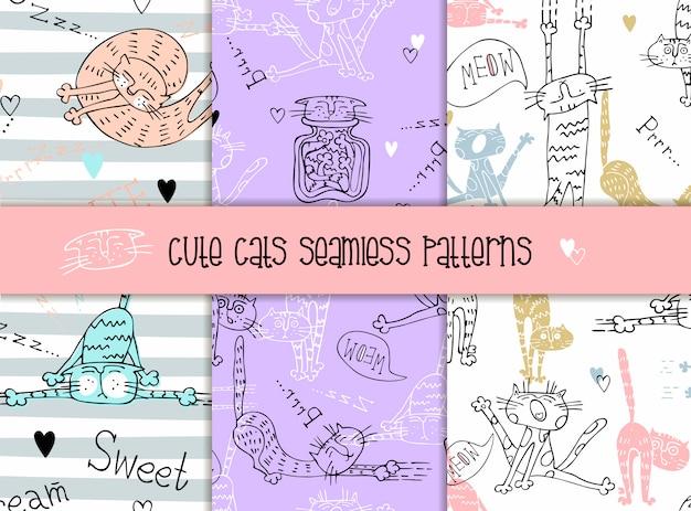 Conjunto de padrões sem emenda de gatos em um estilo bonito.