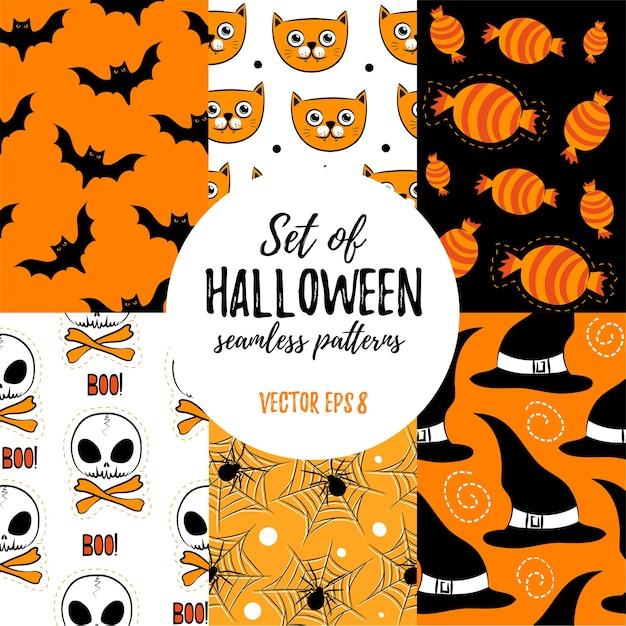 Conjunto de padrões sem emenda de halloween.