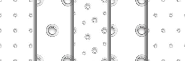 Conjunto de padrões sem emenda de ilhós polka dot de metal com imitações de orifícios