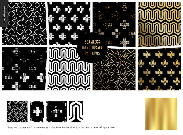 Conjunto de padrões sem emenda de mão desenhada