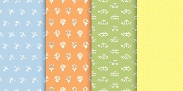 Conjunto de padrões sem emenda de menino bebê. bolinhas, carros, aviões, planos de fundo coloridos de balão de ar quente.