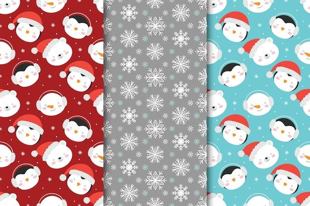 Conjunto de padrões sem emenda de natal com bonecos de neve