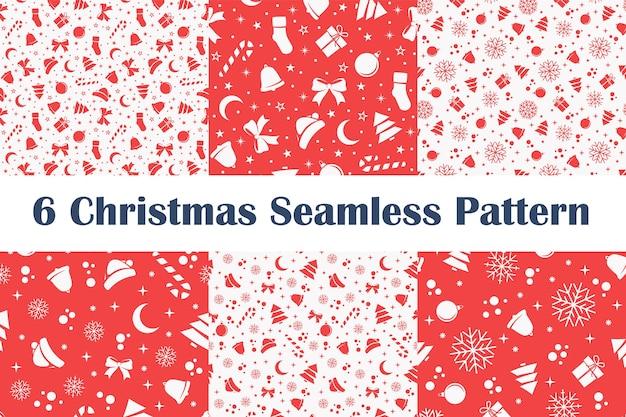 Conjunto de padrões sem emenda de natal em fundo vermelho e branco.