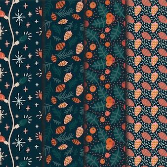 Conjunto de padrões sem emenda de natal para papel de embrulho ou papel de parede
