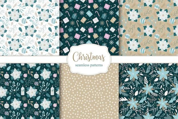 Conjunto de padrões sem emenda de natal. poinsétia, velas de natal, bolas e flocos de neve.
