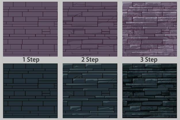 Conjunto de padrões sem emenda de parede de pedra de tijolo