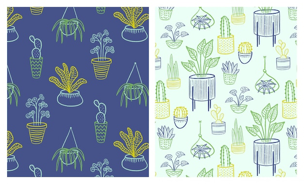 Conjunto de padrões sem emenda de plantas indoor mão desenhada de contorno