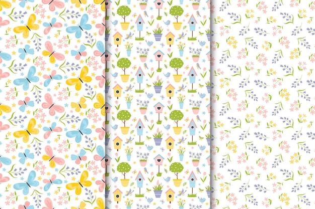 Conjunto de padrões sem emenda de primavera em estilo cartoon desenhado à mão plana