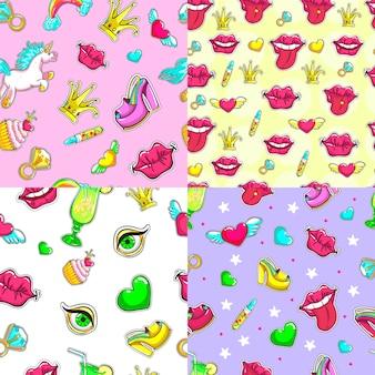 Conjunto de padrões sem emenda de remendos femininos de desenhos animados