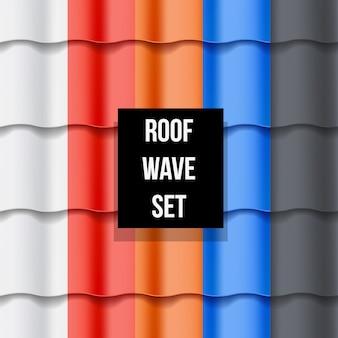 Conjunto de padrões sem emenda de telhado de telha