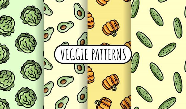 Conjunto de padrões sem emenda de vegetais coloridos.
