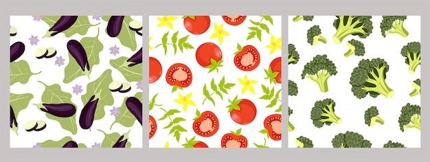Conjunto de padrões sem emenda de vegetais. gráfico
