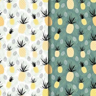 Conjunto de padrões sem emenda de verão tropical abstrata com abacaxi