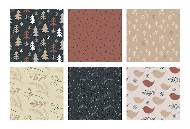 Conjunto de padrões sem emenda de vetor de natal com elementos simples desenhados à mão
