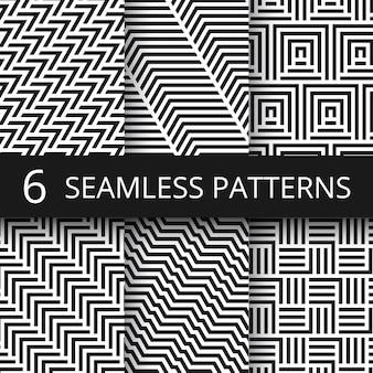 Conjunto de padrões sem emenda de vetor geométrico listrado. papéis de parede intermináveis da arte cinética