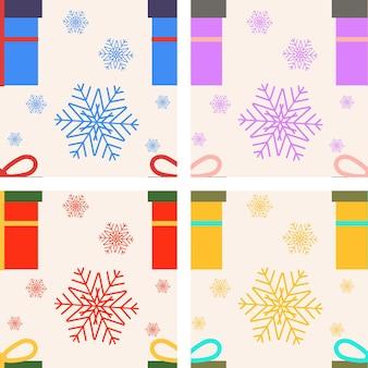 Conjunto de padrões sem emenda de vetor natal com caixa de presente e flocos de neve
