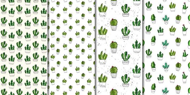 Conjunto de padrões sem emenda de vetores com cactos. estilo desenhado mão