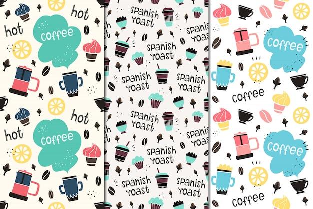 Conjunto de padrões sem emenda de vetores com café e especiarias.