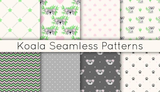 Conjunto de padrões sem emenda de vetores com coalas fofos, ramos de eucalipto, estrelas, corações, ziguezagues.