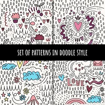 Conjunto de padrões sem emenda de vetores em estilo doodle
