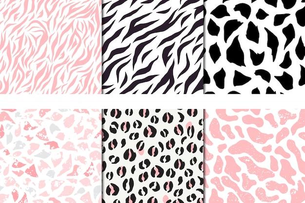 Conjunto de padrões sem emenda de vetores, leopardo, zebra, girafa de seixo