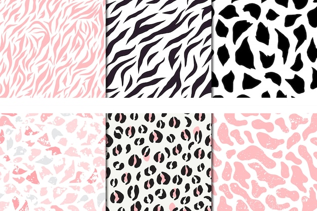 Conjunto de padrões sem emenda de vetores, leopardo, zebra, girafa de seixo Vetor Premium