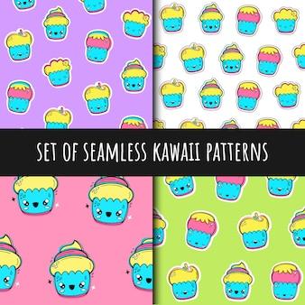 Conjunto de padrões sem emenda de vetores no estilo de kawaii. bolos de copo.