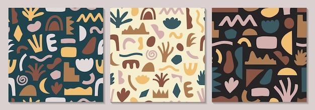 Conjunto de padrões sem emenda desenhados à mão em várias formas