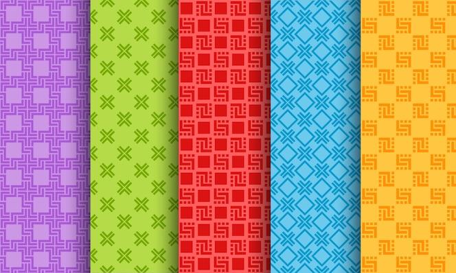 Conjunto de padrões sem emenda diferentes brilhantes