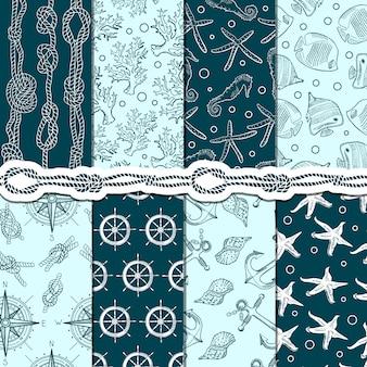 Conjunto de padrões sem emenda diferentes de elementos marinhos e náuticos.